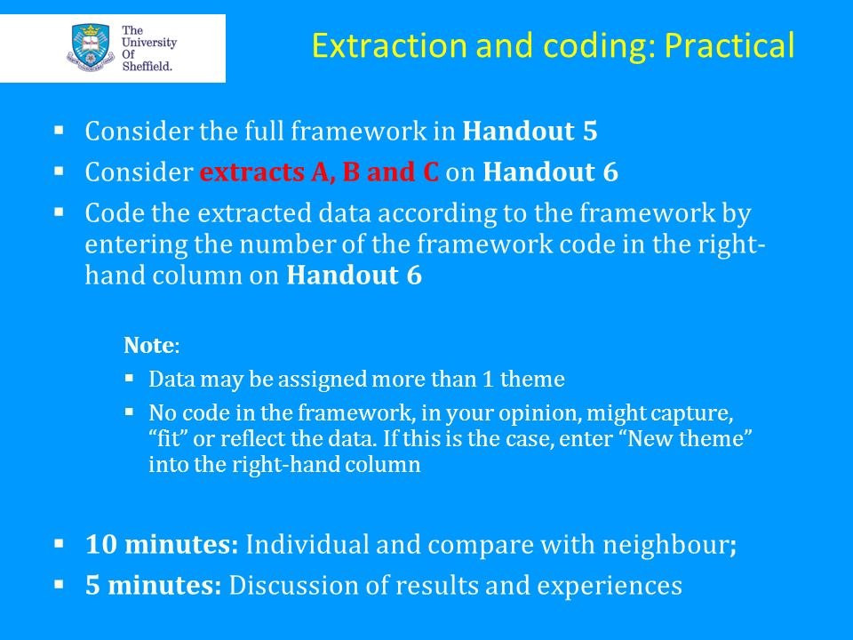 Extraction and coding: Practical