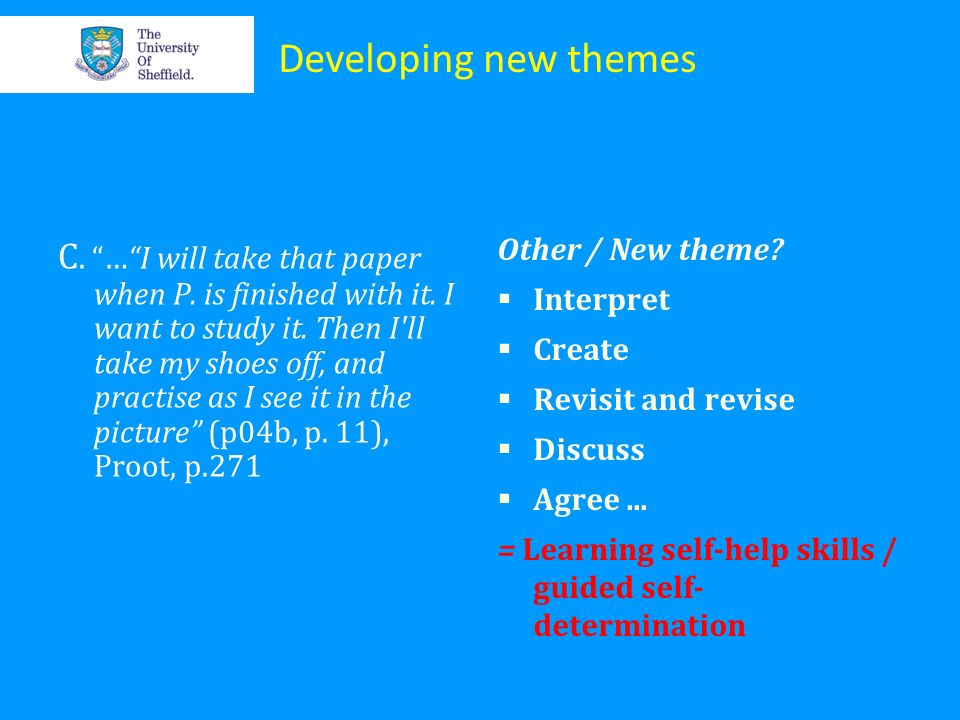 Developing new themes Other / New theme Interpret. Create. Revisit and revise. Discuss. Agree ...