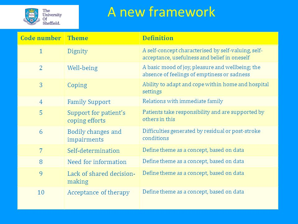 A new framework Code number Theme Definition 1 Dignity 2 Well-being 3