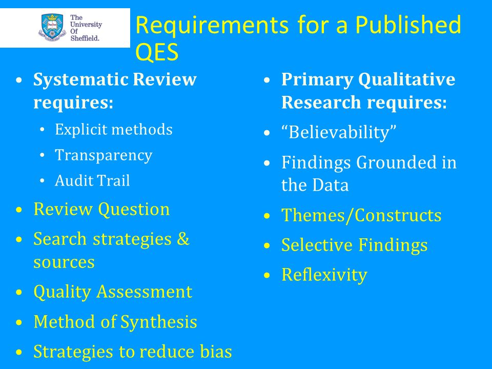 Requirements for a Published QES