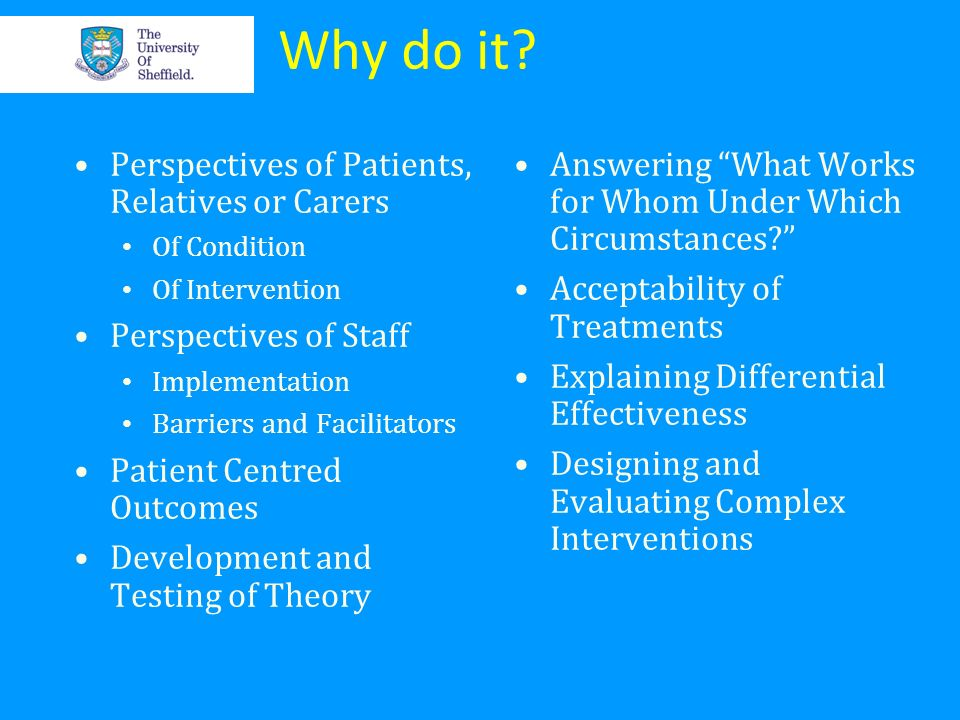 Why do it Perspectives of Patients, Relatives or Carers