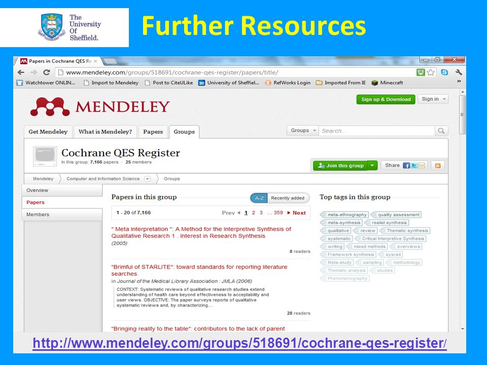 Further Resources http://www.mendeley.com/groups/518691/cochrane-qes-register/