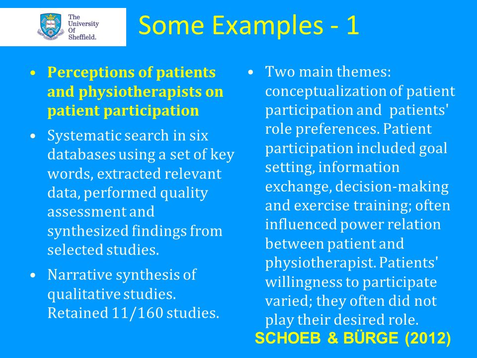Some Examples - 1 Perceptions of patients and physiotherapists on patient participation.