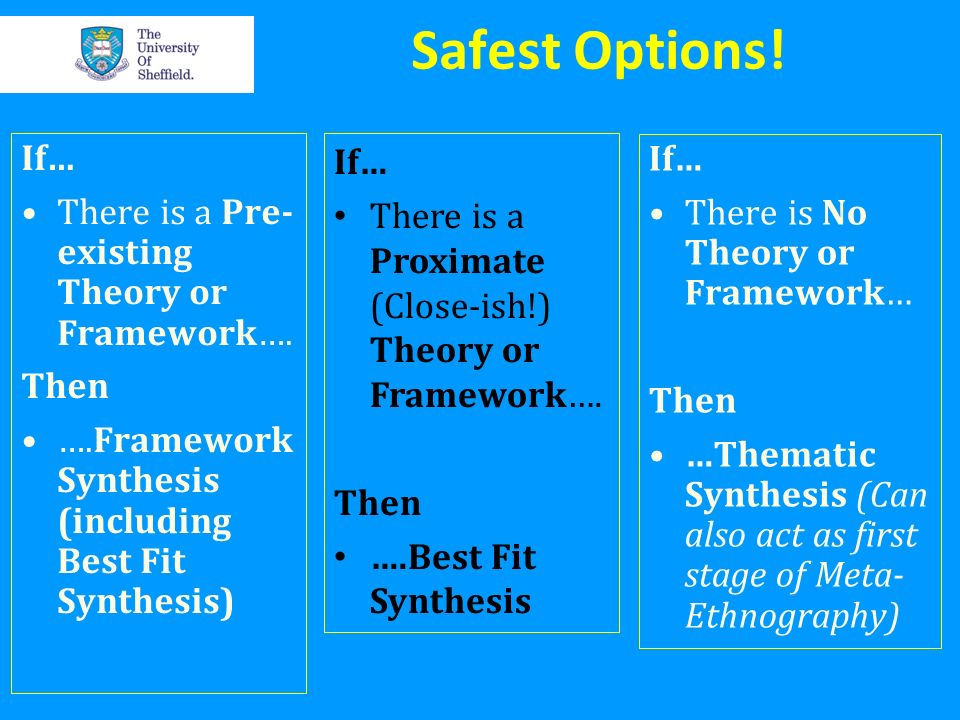 Safest Options! If… There is a Pre-existing Theory or Framework…. Then