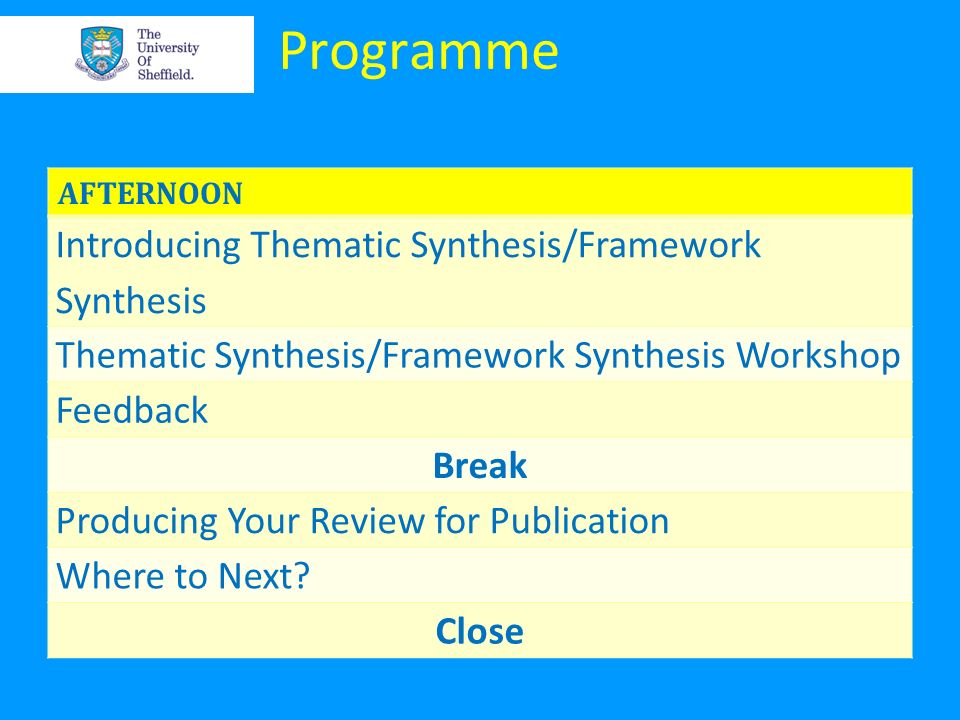 Programme Introducing Thematic Synthesis/Framework Synthesis