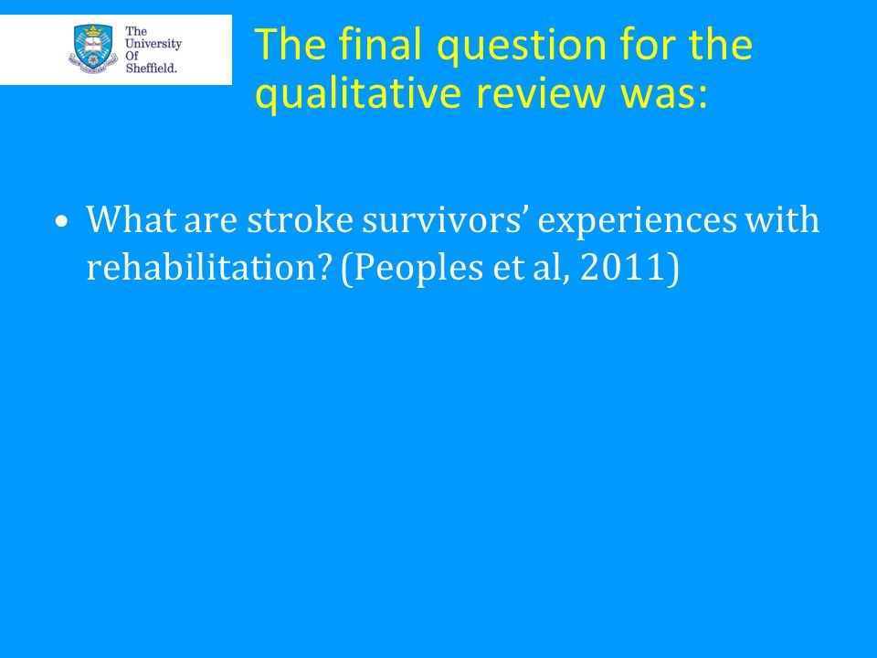 The final question for the qualitative review was: