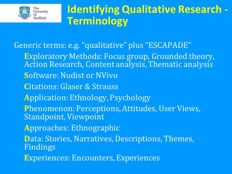 Identifying Qualitative Research - Terminology