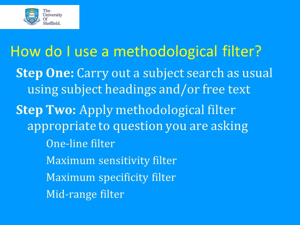 How do I use a methodological filter