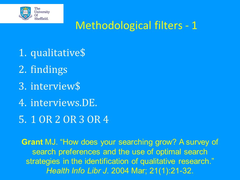 Methodological filters - 1