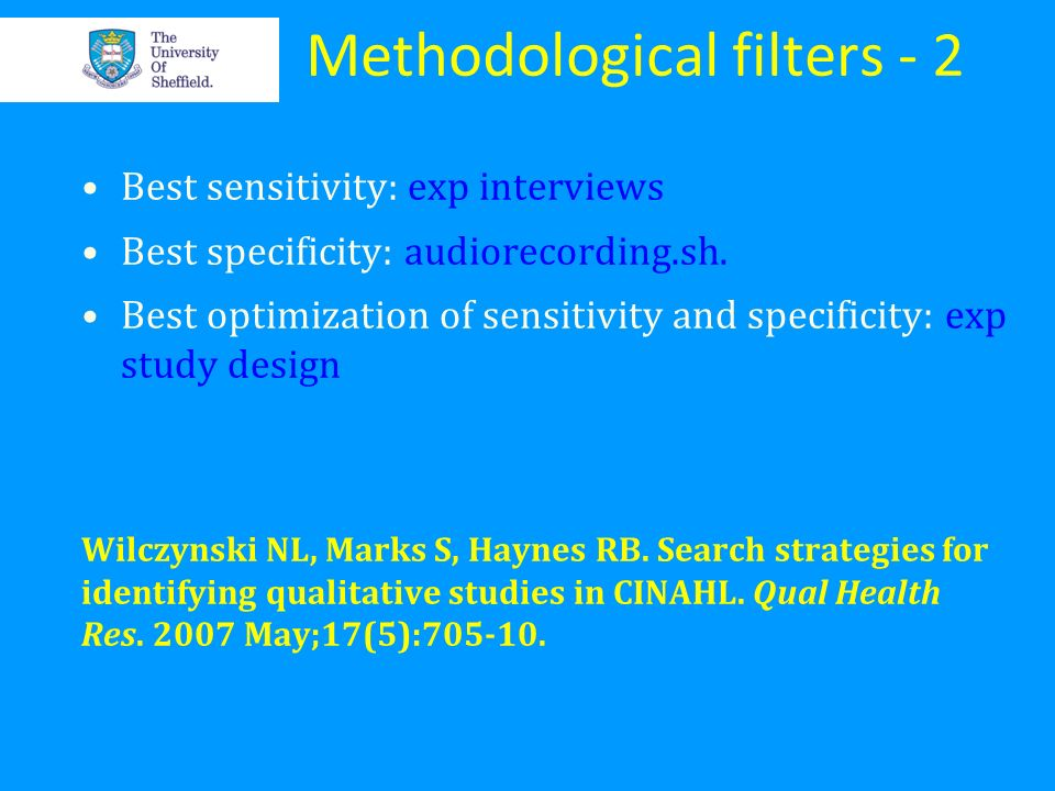 Methodological filters - 2
