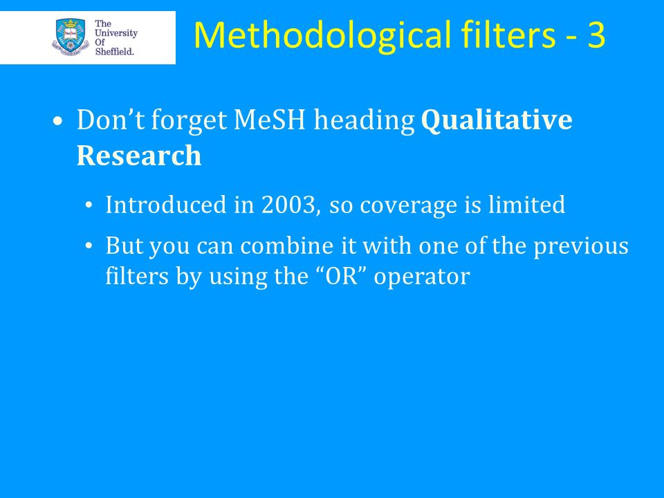 Methodological filters - 3