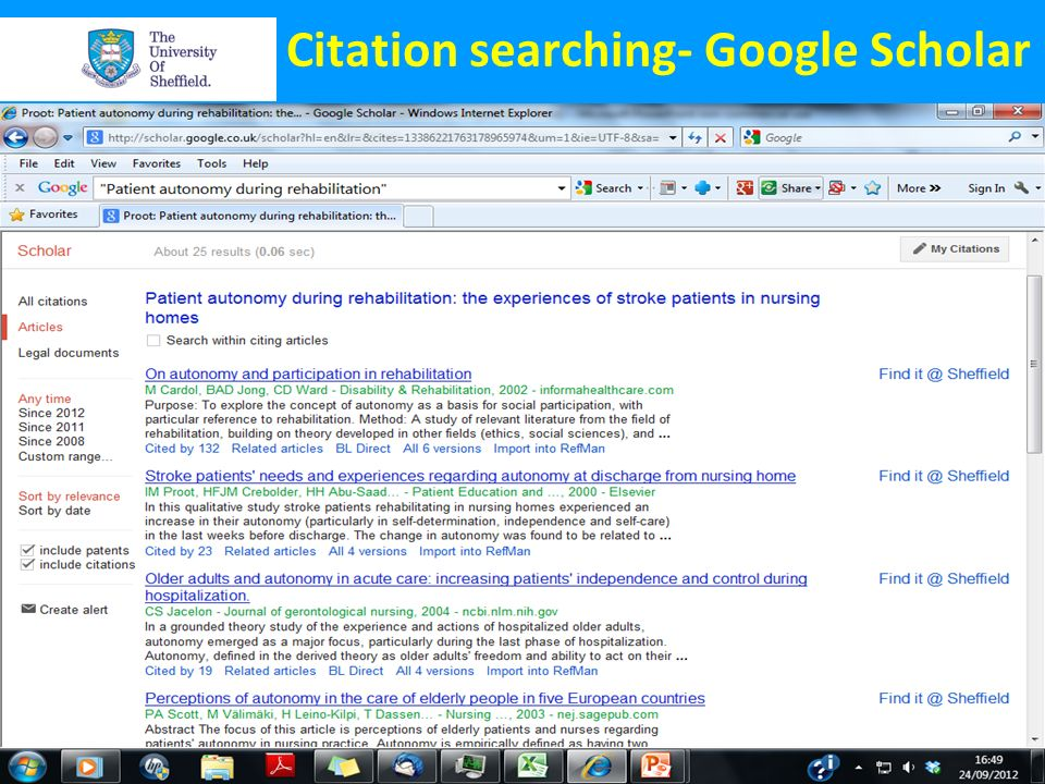 Citation searching- Google Scholar