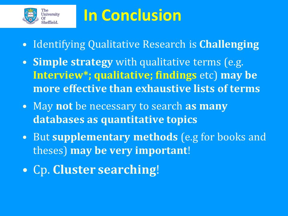 In Conclusion Cp. Cluster searching!