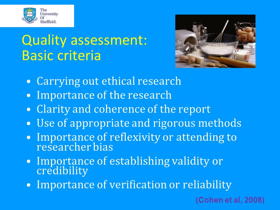 Quality assessment: Basic criteria