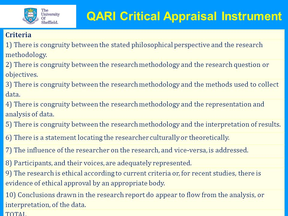 QARI Critical Appraisal Instrument