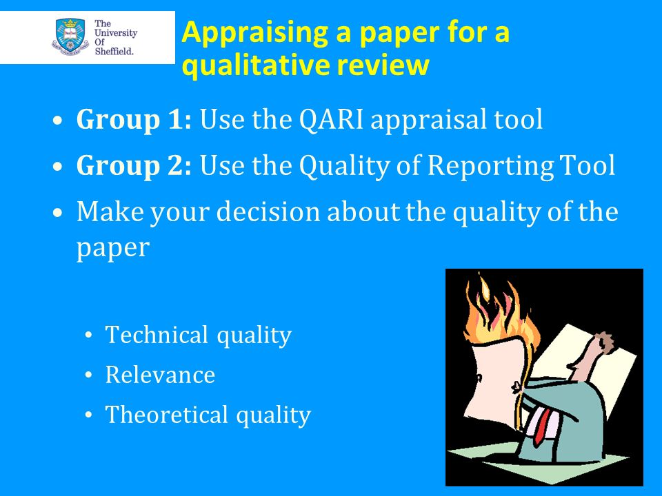 Appraising a paper for a qualitative review