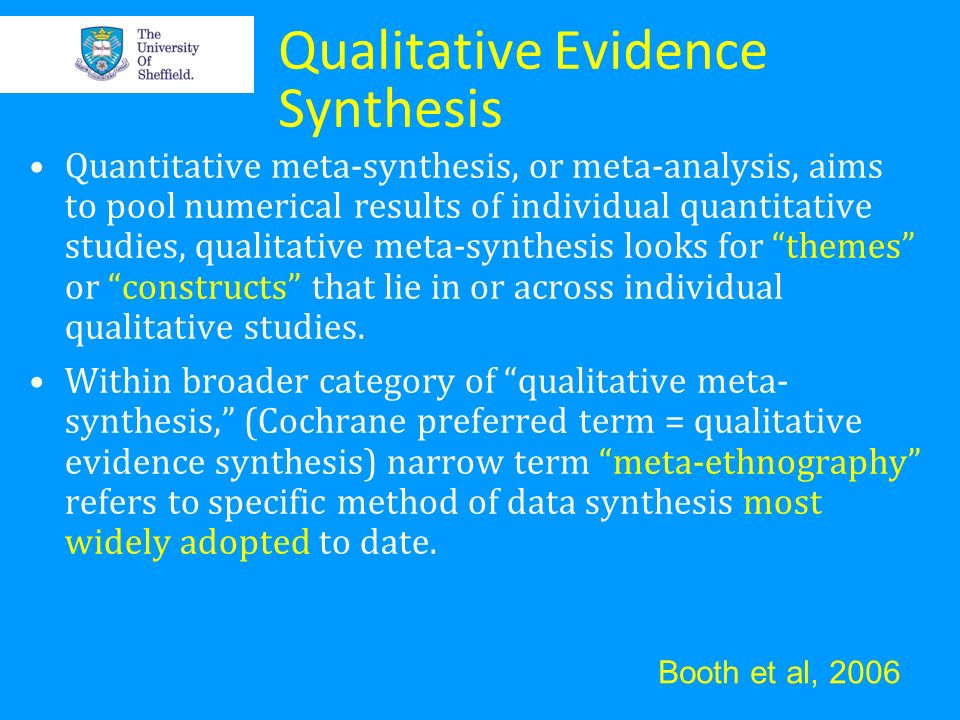 Qualitative Evidence Synthesis