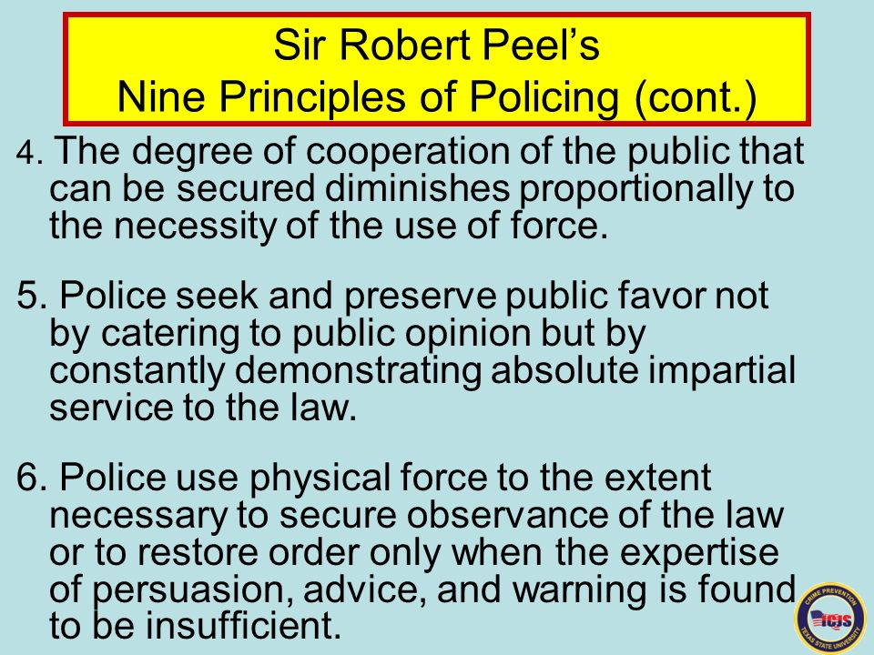 sir robert peel policing paper In 1829, sir robert peel founded the london metro police why do the 9 peelian principles continue in law enforcement today what impact do these principles.