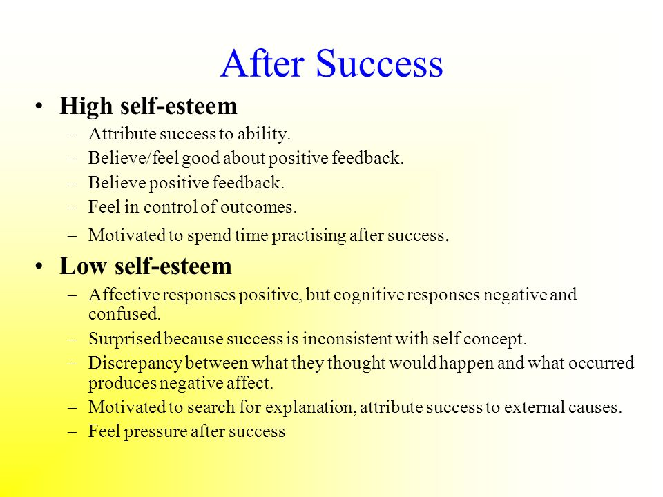 After Success High self-esteem Low self-esteem