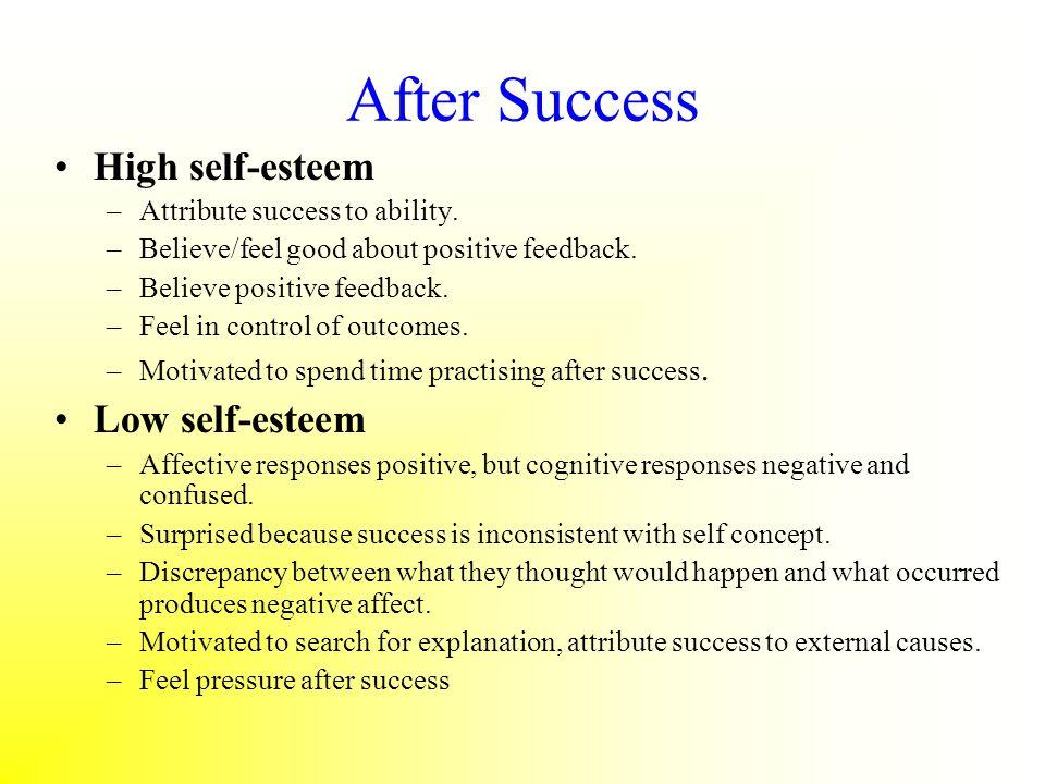 After Success High self-esteem Low self-esteem