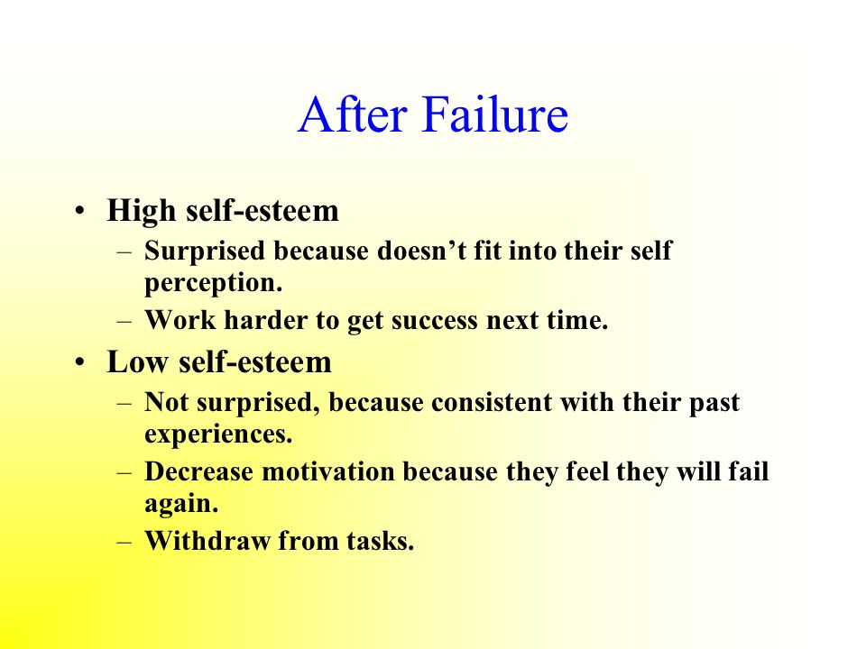 After Failure High self-esteem Low self-esteem