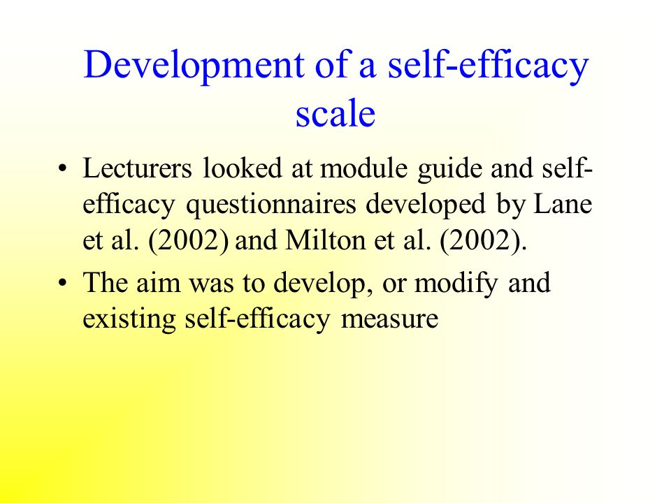 Development of a self-efficacy scale