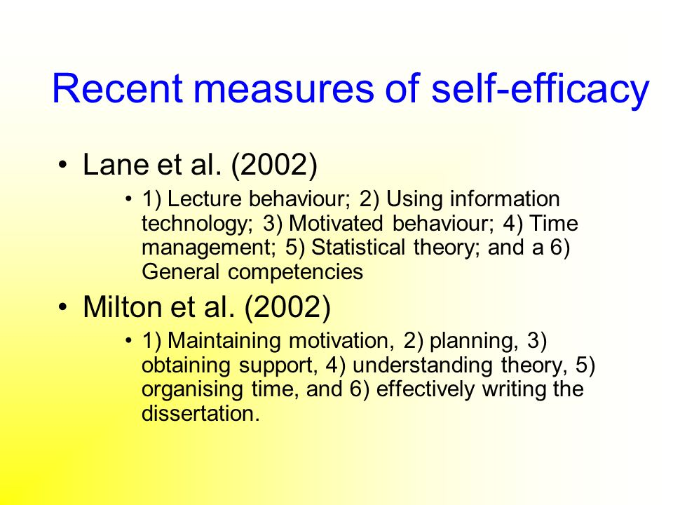 Recent measures of self-efficacy