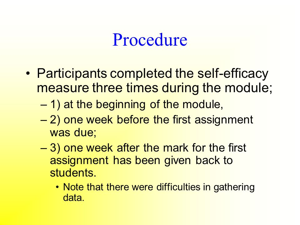 Procedure Participants completed the self-efficacy measure three times during the module; 1) at the beginning of the module,