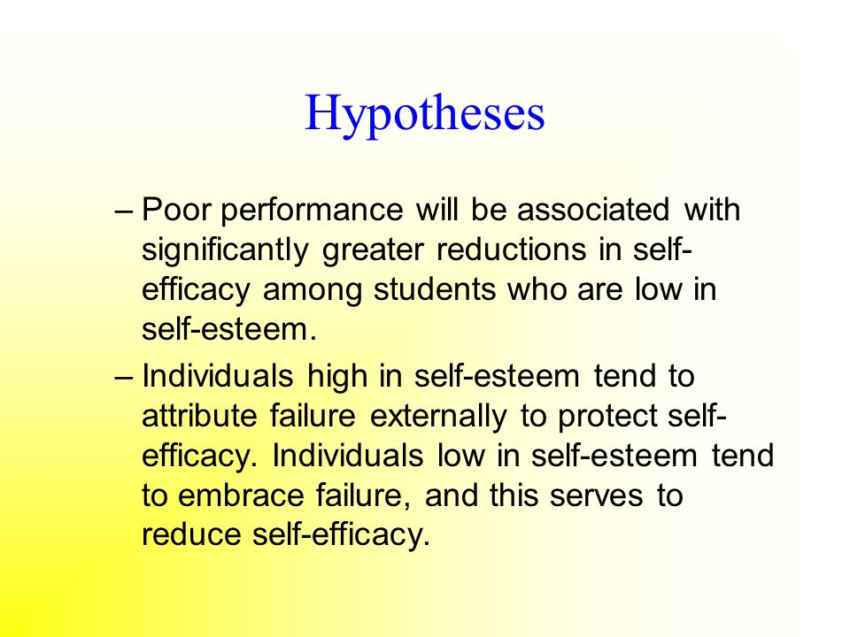 Hypotheses Poor performance will be associated with significantly greater reductions in self-efficacy among students who are low in self-esteem.