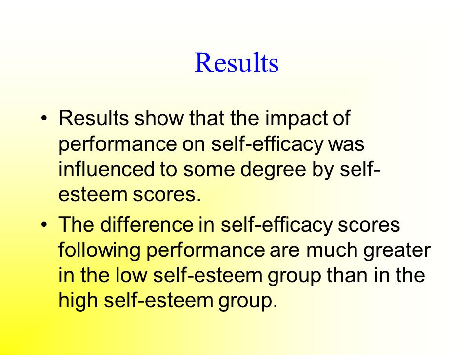 Results Results show that the impact of performance on self-efficacy was influenced to some degree by self-esteem scores.