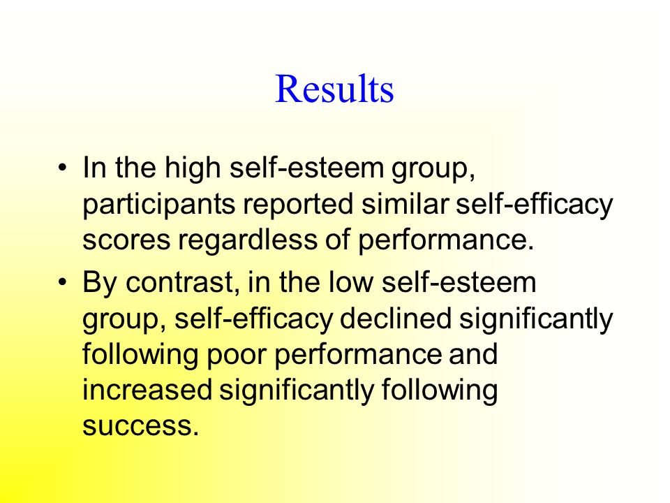 Results In the high self-esteem group, participants reported similar self-efficacy scores regardless of performance.