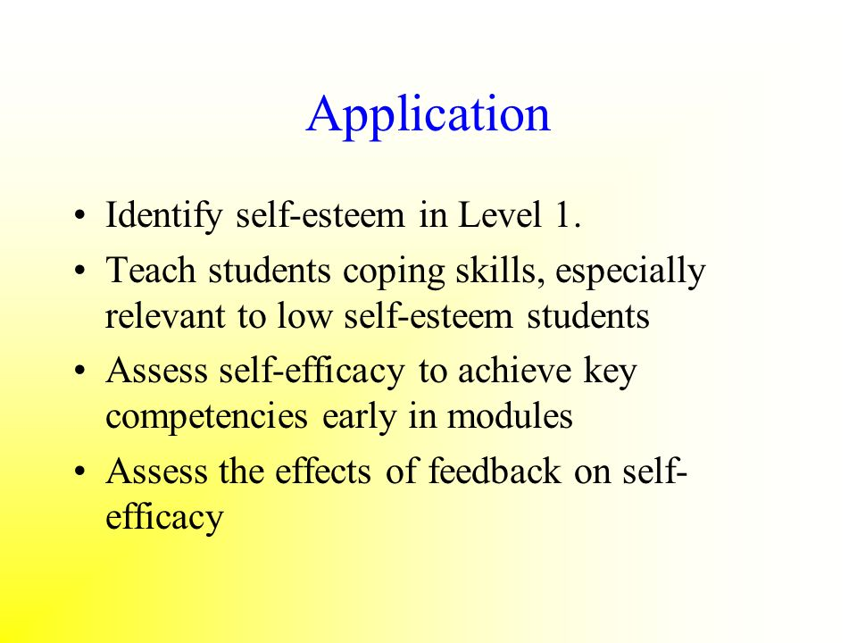 Application Identify self-esteem in Level 1.
