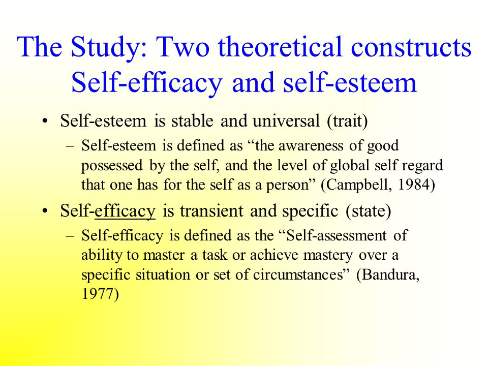The Study: Two theoretical constructs Self-efficacy and self-esteem