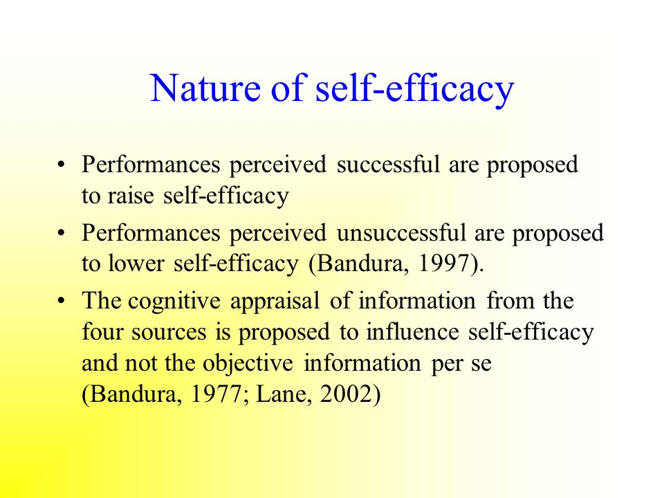 Nature of self-efficacy