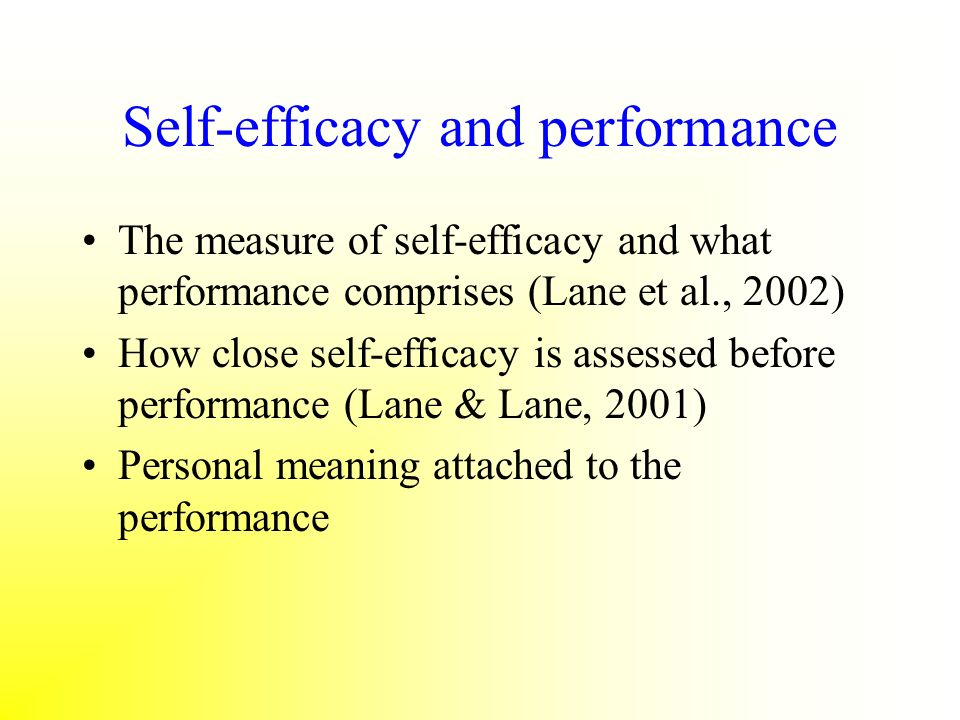 Self-efficacy and performance