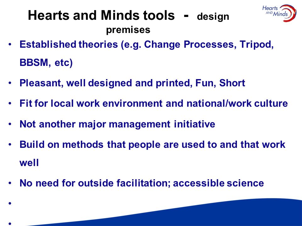 Hearts and Minds tools - design premises
