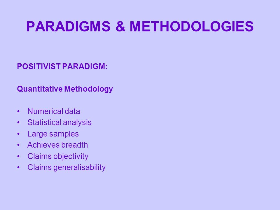 PARADIGMS & METHODOLOGIES