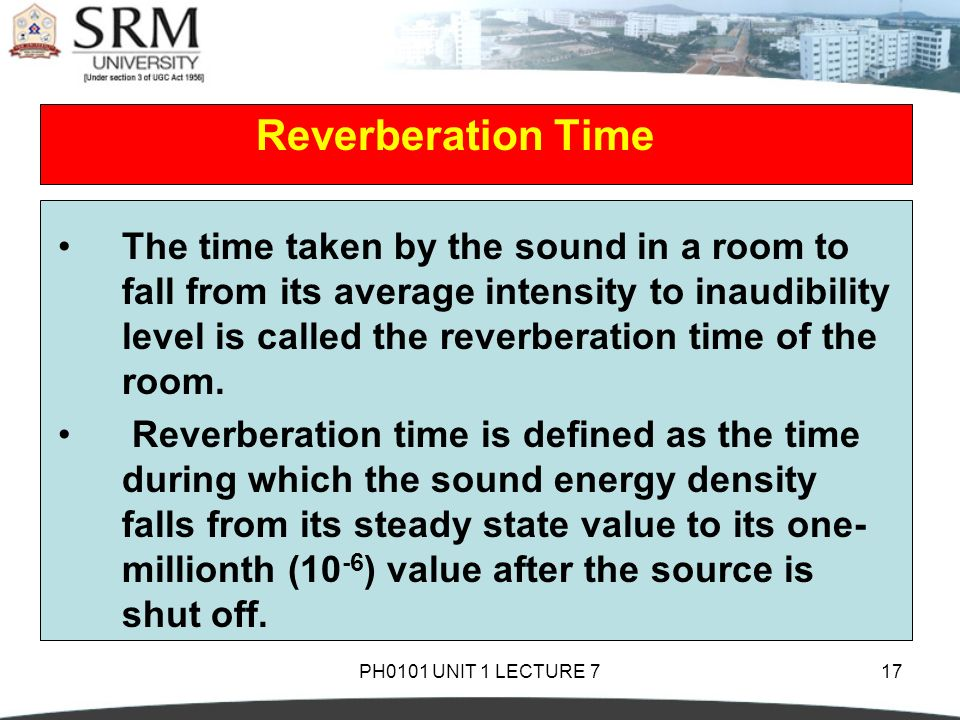 how to find average reverberation time