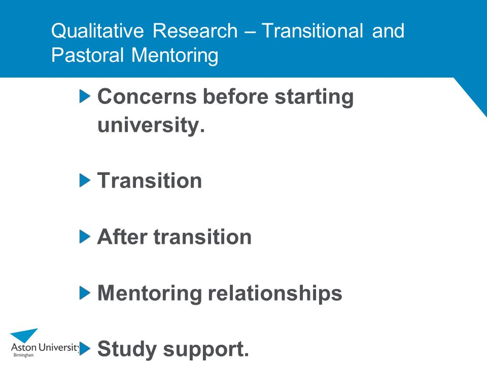 Qualitative Research – Transitional and Pastoral Mentoring