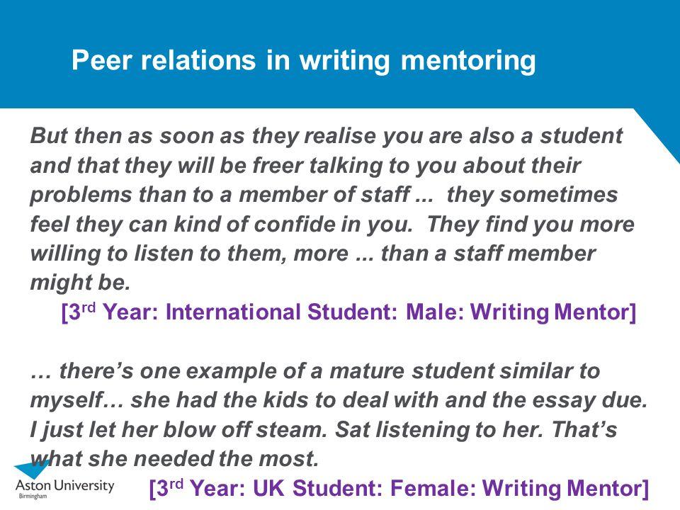 Peer relations in writing mentoring