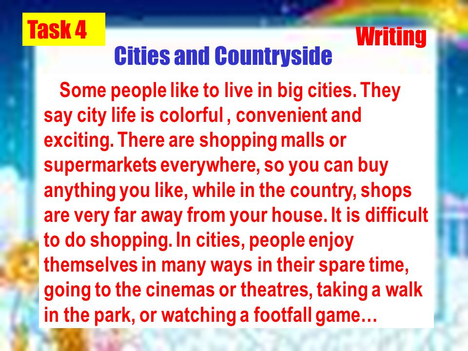 city or countryside essay Discussion about is living in city better than countryside (essay sample) instructions: in an argumentative essay living in the city vs the countryside.