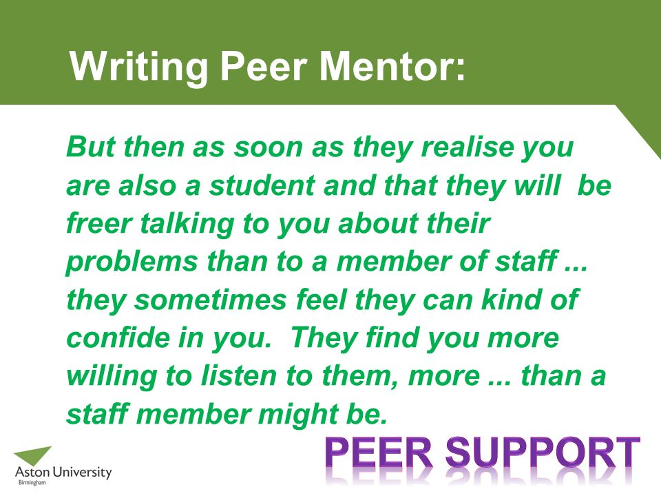 Writing Peer Mentor: Peer support