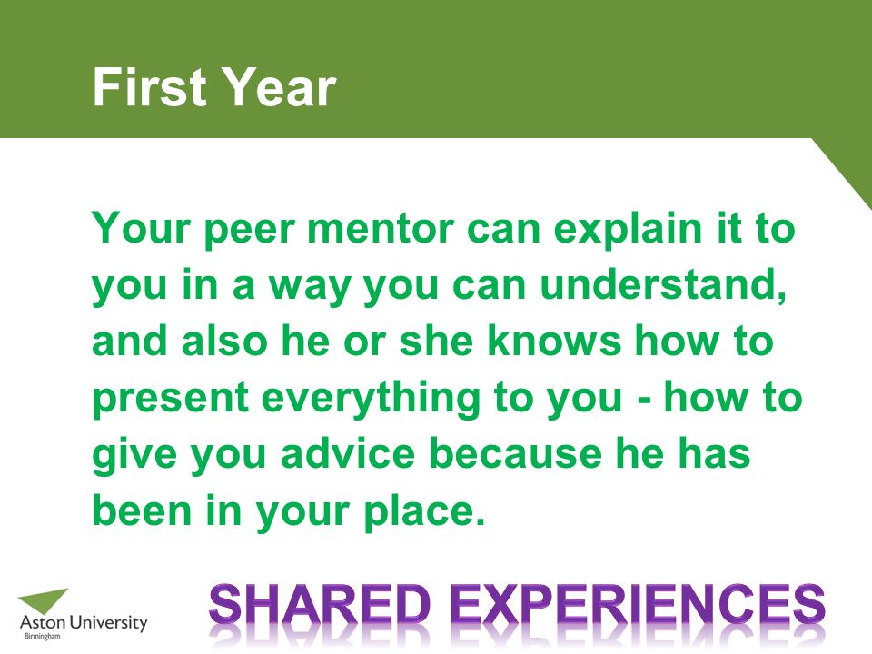 First Year SHARED EXPERIENCES