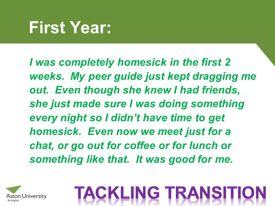 First Year: Tackling transition