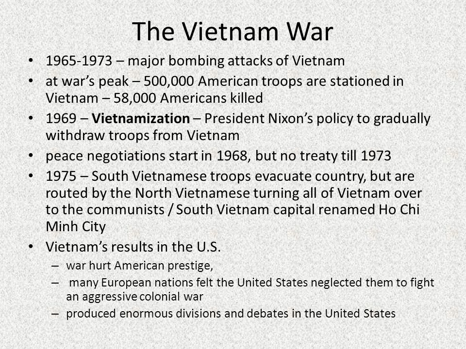 Vietnam and the united states policy of vietnamization