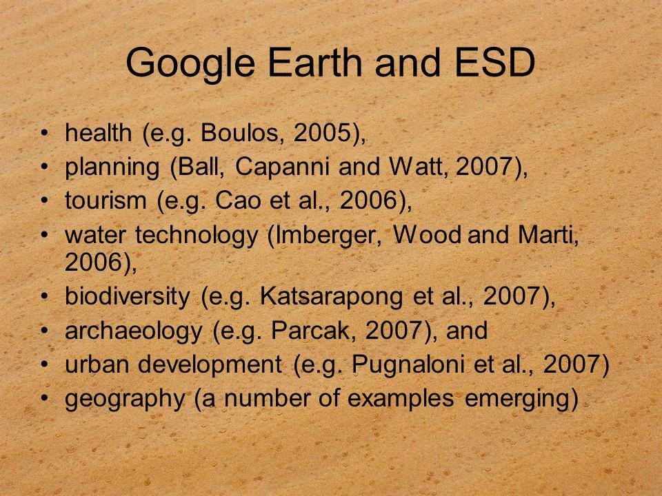 Google Earth and ESD health (e.g. Boulos, 2005),