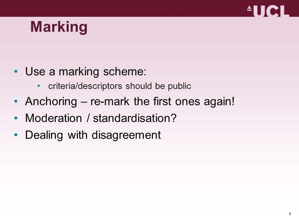 Marking Use a marking scheme: