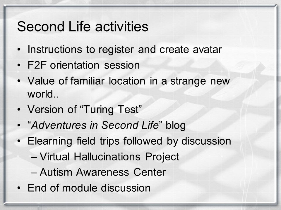 Second Life activities