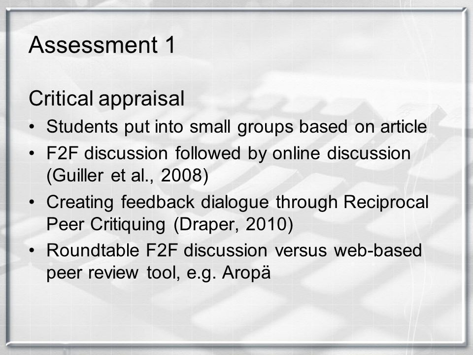 Assessment 1 Critical appraisal