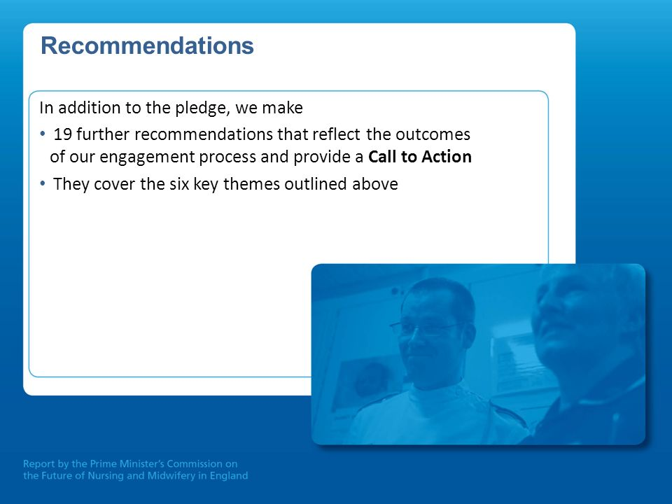 Recommendations In addition to the pledge, we make